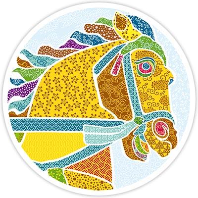 Gruß- und Deko-Karte: Yuki Hideyasu's Pferd (Yuki Hideyasu Statue in Fukui/Japan)